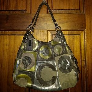 Coach Maggie Mia Inlaid C Suede Leather Hobo Bag